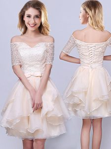 A-line Court Dresses for Sweet 16 Champagne Off The Shoulder Organza Short Sleeves Mini Length Lace Up