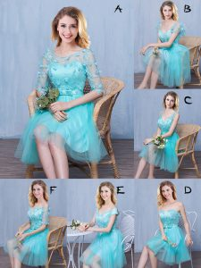 Aqua Blue Vestidos de Damas Prom and Party and Wedding Party with Lace and Appliques and Bowknot Scoop Sleeveless Lace Up