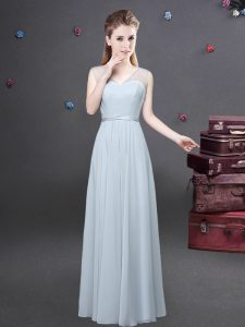 Exceptional Grey Sleeveless Floor Length Ruching Zipper Quinceanera Dama Dress