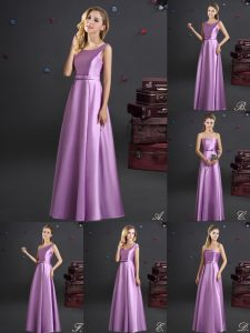 Affordable Square Elastic Woven Satin Sleeveless Floor Length Quinceanera Dama Dress and Bowknot