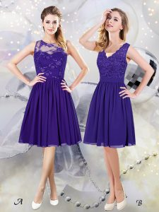 Scoop See Through Scalloped Sleeveless Quinceanera Dama Dress Knee Length Lace and Appliques Purple Chiffon