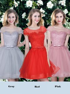 Scoop Red and Pink and Grey Short Sleeves Tulle Lace Up Damas Dress for Prom and Party and Wedding Party