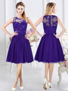 Fine Purple Quinceanera Court of Honor Dress Prom and Party and Wedding Party with Lace Scoop Sleeveless Zipper