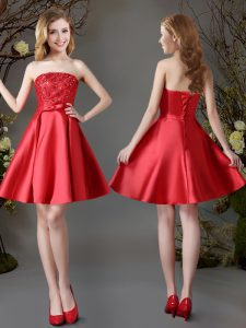 Luxury Satin Sleeveless Mini Length Quinceanera Court of Honor Dress and Appliques and Bowknot