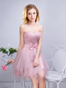 Pink Sweetheart Lace Up Ruching and Bowknot Vestidos de Damas Sleeveless