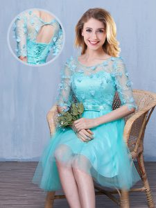 Scoop Tulle Half Sleeves Knee Length Dama Dress for Quinceanera and Lace and Appliques and Bowknot