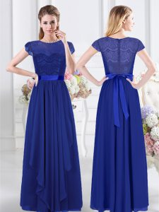 New Style Scoop Royal Blue Short Sleeves Floor Length Lace and Belt Zipper Quinceanera Dama Dress