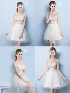 Luxury Champagne Lace Up Square Sequins and Bowknot Vestidos de Damas Tulle Sleeveless