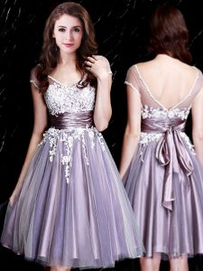 Tulle Short Sleeves Knee Length Dama Dress and Appliques and Belt