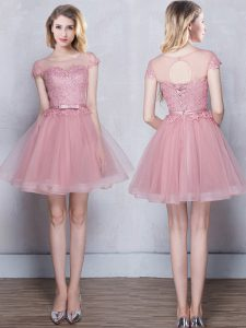 Tulle Scoop Short Sleeves Lace Up Lace and Appliques and Belt Quinceanera Court Dresses in Pink
