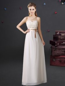 Enchanting White Empire Lace and Appliques and Belt Dama Dress for Quinceanera Lace Up Chiffon Sleeveless Floor Length