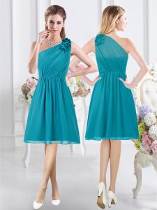 One Shoulder Teal Empire Ruffles and Ruching Quinceanera Court of Honor Dress Side Zipper Chiffon Sleeveless Knee Length