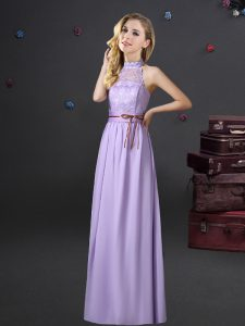 Perfect Lavender Halter Top Lace Up Lace and Belt Quinceanera Dama Dress Sleeveless