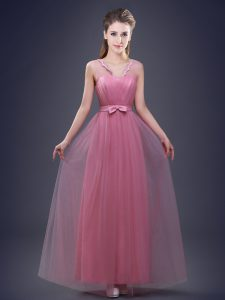 Sumptuous Pink Empire V-neck Sleeveless Tulle Floor Length Lace Up Appliques and Ruching and Bowknot Dama Dress for Quinceanera