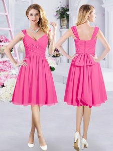 Hot Pink Chiffon Zipper Damas Dress Sleeveless Knee Length Ruching and Belt