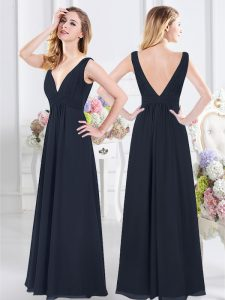 New Style Chiffon V-neck Sleeveless Backless Ruching Damas Dress in Navy Blue