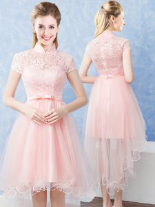Admirable Lace and Belt Quinceanera Dama Dress Baby Pink Zipper Short Sleeves High Low