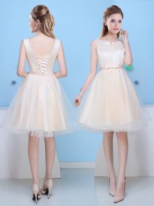 Scoop Champagne Sleeveless Knee Length Bowknot Lace Up Dama Dress