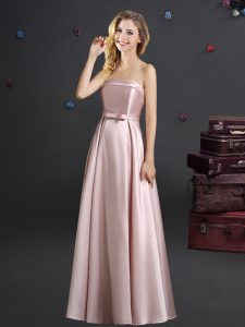 Noble Floor Length Zipper Court Dresses for Sweet 16 Pink for Prom and Party and Wedding Party with Bowknot
