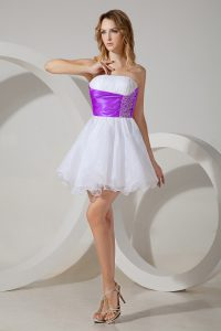 Organza Sleeveless Mini Length Quinceanera Dama Dress and Beading