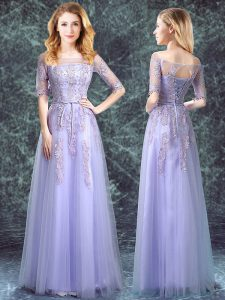 Wonderful Square Lavender Half Sleeves Appliques Floor Length Quinceanera Dama Dress