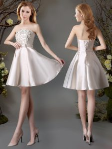 Strapless Sleeveless Dama Dress for Quinceanera Mini Length Appliques and Bowknot Champagne Satin