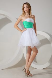 Beading Quinceanera Dama Dress White Zipper Sleeveless Mini Length