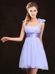 Straps Ruching and Bowknot Dama Dress for Quinceanera Lavender Zipper Sleeveless Mini Length