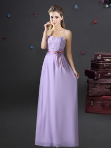 Most Popular Sweetheart Sleeveless Damas Dress Floor Length Lace and Appliques and Belt Lavender Chiffon