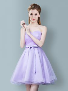 Lavender Tulle Zipper Sweetheart Sleeveless Knee Length Damas Dress Ruching and Bowknot