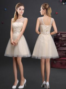 Scoop Sleeveless Tulle Dama Dress Beading and Lace and Appliques and Belt Lace Up