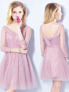 Top Selling Sleeveless Mini Length Appliques and Belt Lace Up Vestidos de Damas with Pink