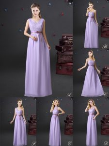 Empire Quinceanera Court of Honor Dress Lavender V-neck Chiffon Sleeveless Floor Length Lace Up