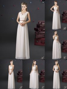 Popular V-neck Sleeveless Lace Up Dama Dress for Quinceanera White Chiffon