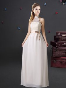 Extravagant White Halter Top Lace Up Lace and Belt Dama Dress Sleeveless