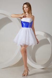 White Sleeveless Mini Length Beading Zipper Quinceanera Dama Dress