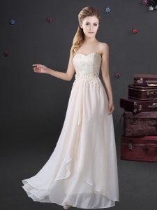 Pretty White Sleeveless Chiffon Zipper Dama Dress for Prom and Party and Wedding Party