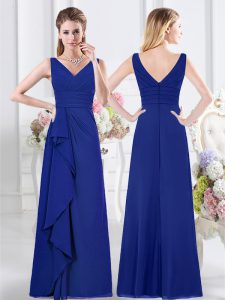 Royal Blue Sleeveless Chiffon Zipper Dama Dress for Quinceanera for Prom and Party and Wedding Party