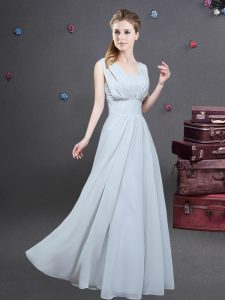 Most Popular Square Grey Sleeveless Ruching Floor Length Dama Dress for Quinceanera