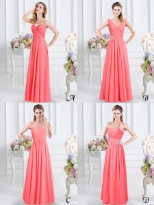 Beautiful Floor Length Watermelon Red Dama Dress for Quinceanera Chiffon Sleeveless Lace and Ruching