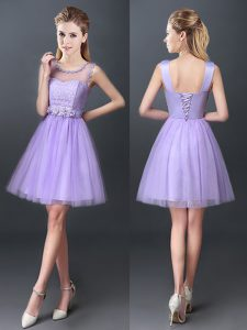 Unique Lavender A-line Tulle Scoop Sleeveless Lace Mini Length Lace Up Vestidos de Damas