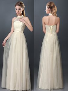 Champagne Tulle Lace Up Halter Top Sleeveless Floor Length Vestidos de Damas Lace and Appliques