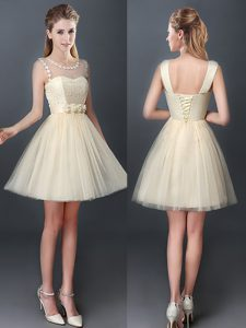 High Quality Scoop Mini Length Lace Up Quinceanera Dama Dress Champagne for Prom and Party and Wedding Party with Lace and Hand Made Flower