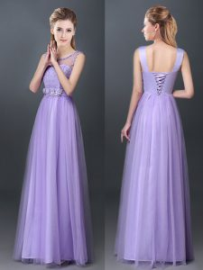 Superior Lavender Scoop Neckline Lace and Hand Made Flower Quinceanera Court of Honor Dress Sleeveless Lace Up