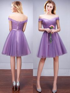 Popular Lavender Off The Shoulder Neckline Ruching and Belt Quinceanera Court Dresses Sleeveless Lace Up