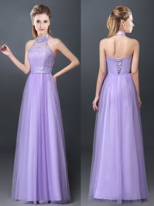 Halter Top Sleeveless Court Dresses for Sweet 16 Floor Length Lace and Appliques Lavender Tulle
