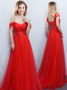 Off the Shoulder With Train Lace Up Dama Dress Red for Prom and Party and Wedding Party with Appliques and Ruching Brush Train