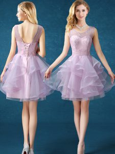 Scoop Lavender Sleeveless Lace Knee Length Court Dresses for Sweet 16