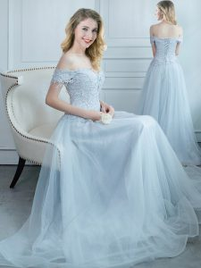 Off the Shoulder Cap Sleeves Lace Up Floor Length Beading and Appliques Dama Dress