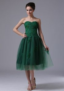 Brand New Hunter Green Sweetheart Tea-length Tulle Casual Prom Dress with Appliques